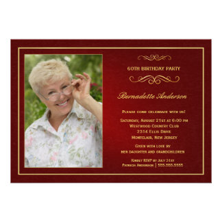 60th Birthday Party Invitations - Add your photo Personalized Invitation