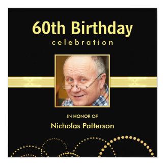 "60th Birthday Party Invitations - Custom Photo 5.25"" Square Invitation Card"