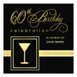 60th Birthday Party Invitations - Formal Square