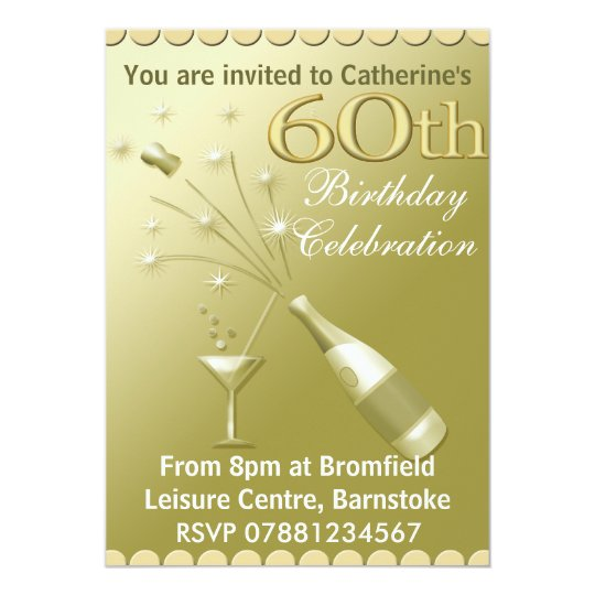 60th Birthday Party Invitations - Gold