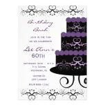 60th Birthday Party Invitations In Purple Swirl