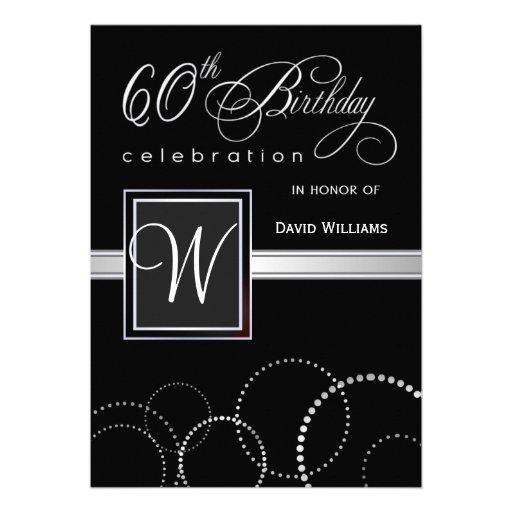 60th Birthday Party Invitations - with Monogram Invitation