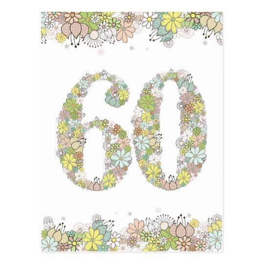 60th Birthday Party Ladies Flowers Postcard Invite