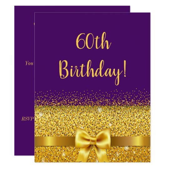 60th Birthday Party On Violet Gold Bow Sparkle Invitation