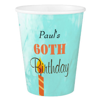 60th Birthday Party paper cup in blue and orange.