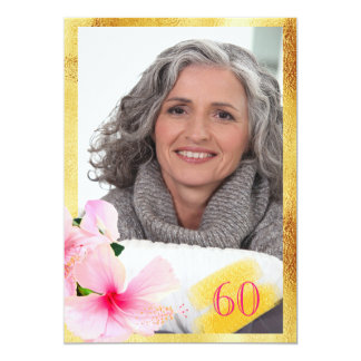 60th birthday party photo hibiscus gold frame card