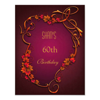 60th Birthday Party Red Brown Autumn Floral Card