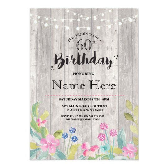 60th Birthday Party Rustic Wood Floral 40th Invite