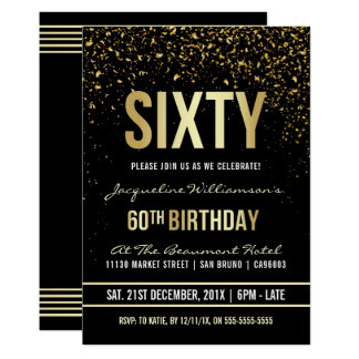 60th Birthday Party   Shimmering Gold Confetti Card
