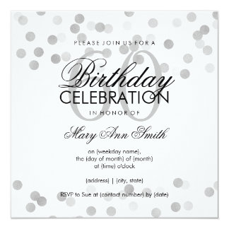 60th Birthday Party Silver Foil Glitter Lights Card