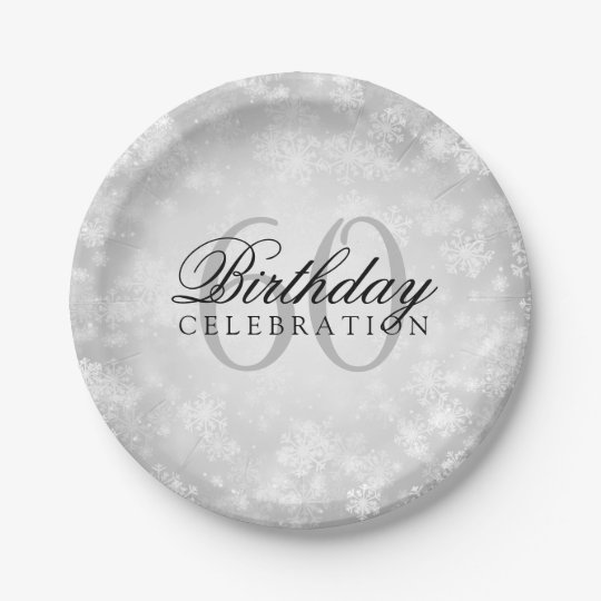 60th Birthday Party Silver Winter Wonderland Paper Plate