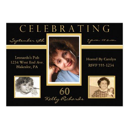 60th Birthday Party Tri Photo Invitations