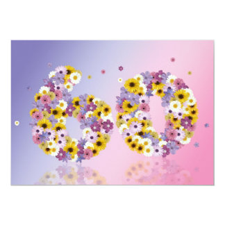 60th Birthday party, with flowered letters 13 Cm X 18 Cm Invitation Card