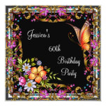 60th Birthday Pink Floral Butterfly Gold Black 3 13 Cm X 13 Cm Square Invitation Card