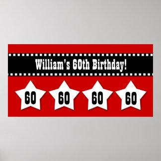 60th Birthday Red Black White Stars Banner V60S Poster