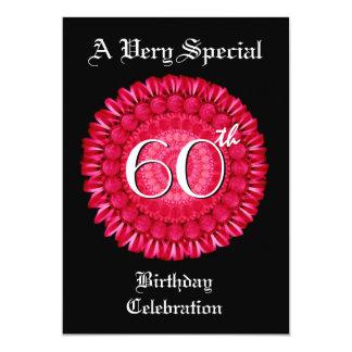 "60th Birthday Red Daisy Wreath Metallic 5"" X 7"" Invitation Card"