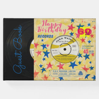 60th Birthday Retro Vinyl Record 45 RPM guest book