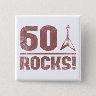 60th Birthday Rocks 15 Cm Square Badge