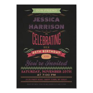 60th Birthday Vintage Chalkboard Typography 5x7 Paper Invitation Card