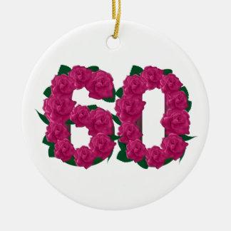 60th birthday wedding anniversary pink flowers round ceramic decoration