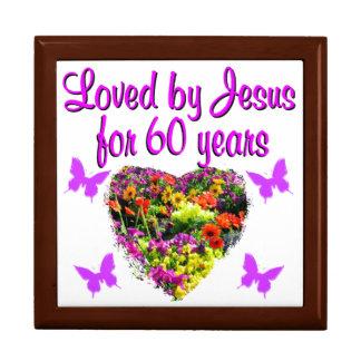 60TH BIRTHDAY WILD FLOWER PHOTO LARGE SQUARE GIFT BOX