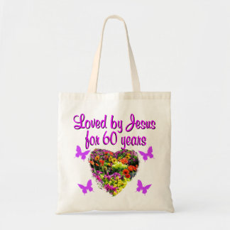 60TH BIRTHDAY WILD FLOWER PHOTO TOTE BAG