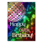 60th birthday with disco ball and rainbow of stars card