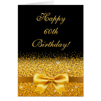 60th birthday with gold bow on chic black card