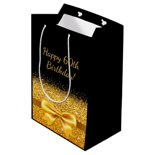 60th Birthday With Gold Bow On Chic Black Medium Gift Bag