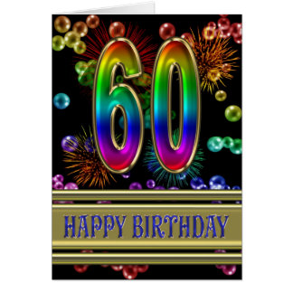 60th Birthday with rainbow bubbles and fireworks Card