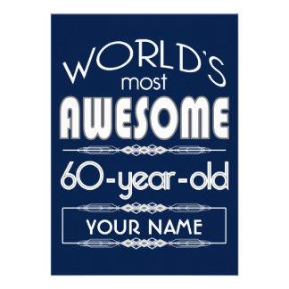 60th Birthday Worlds Best Fabulous Dark Blue Custom Invite