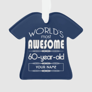 60th Birthday Worlds Best Fabulous Dark Blue Ornament