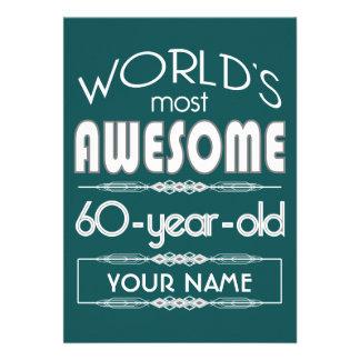60th Birthday Worlds Best Fabulous Dark Green Personalized Invitation