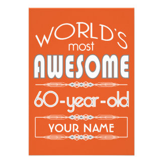 60th Birthday Worlds Best Fabulous Flame Orange Card