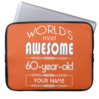 60th Birthday Worlds Best Fabulous Flame Orange Computer Sleeves