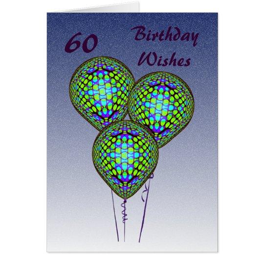 60th Blue Balloons Card