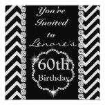 60th CHEVRON RHINESTONE LOOK  Birthday  Invitation