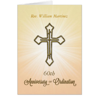60th Custom Name, Year, Anniversary of Ordination, Card