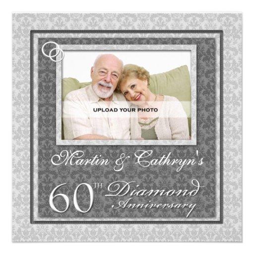 60th Diamond Anniversary Custom Photo Invitation