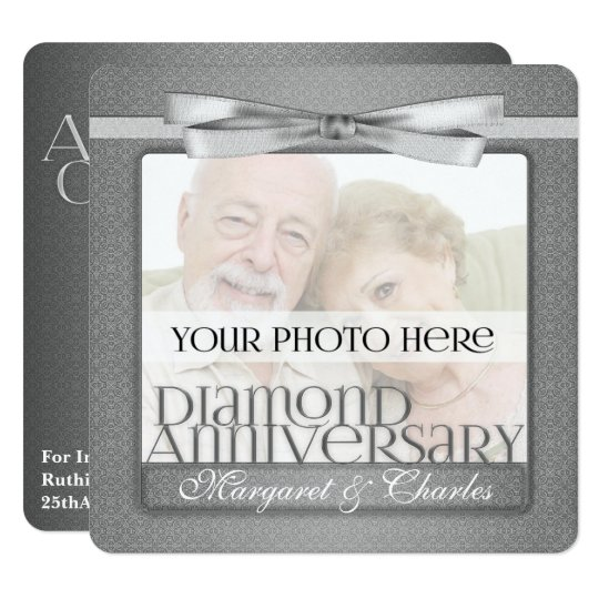 60th Diamond Anniversary Custom Photo Party Card