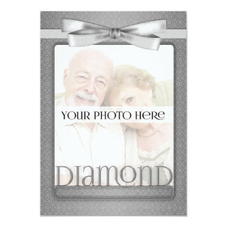 60th Diamond Anniversary Damask Party with Photo Card