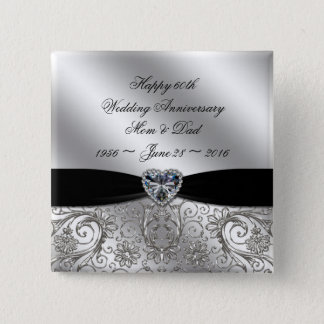 60th Diamond Wedding Anniversary Button