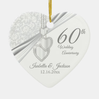 60th Diamond Wedding Anniversary Christmas Ornament