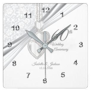 Diamond Wedding Anniversary Wall Clocks Zazzle Uk