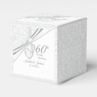 60th Diamond Wedding Anniversary on White Favour Box