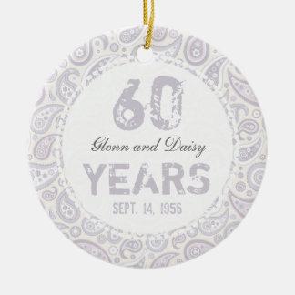 60th Diamond Wedding Anniversary Paisley Monogram Round Ceramic Decoration