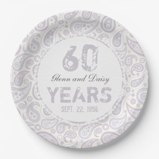 60th Diamond Wedding Anniversary Paisley Pattern Paper Plate