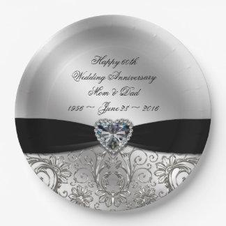 60th Diamond Wedding Anniversary Paper Plate