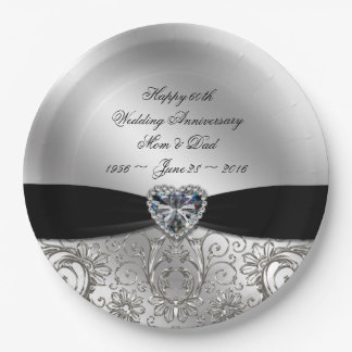 60th Diamond Wedding Anniversary Paper Plate 9 Inch Paper Plate