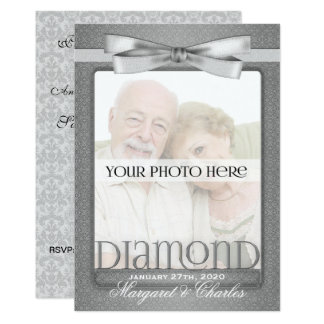 60th Diamond Wedding Anniversary Party Photo Card